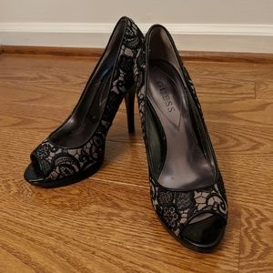 Black Lacy High Heel/ Pump